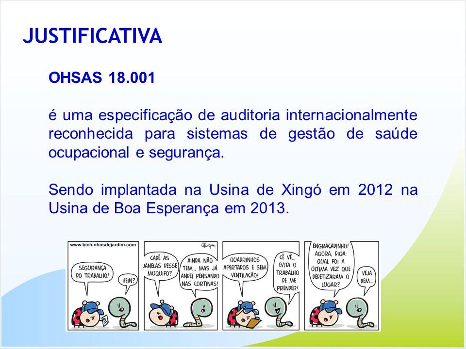 JUSTIFICATIVA OHSAS 18.001 é uma especificação de auditoria internacionalmente reconhecida para sistemas de gestão de saúde ocupacional e segurança. S