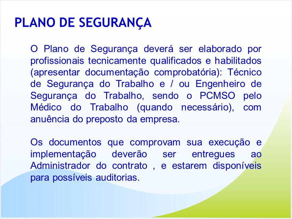 PLANO DE SEGURANÇA O Plano de Segurança deverá ser elaborado por profissionais tecnicamente qualificados e habilitados (apresentar documentação compro