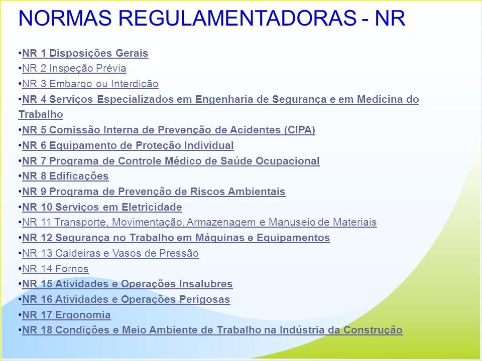 NORMAS REGULAMENTADORAS - NR NR 1 Disposições Gerais NR 2 Inspeção Prévia NR 3 Embargo ou Interdição NR 4 Serviços Especializados em Engenharia de Seg