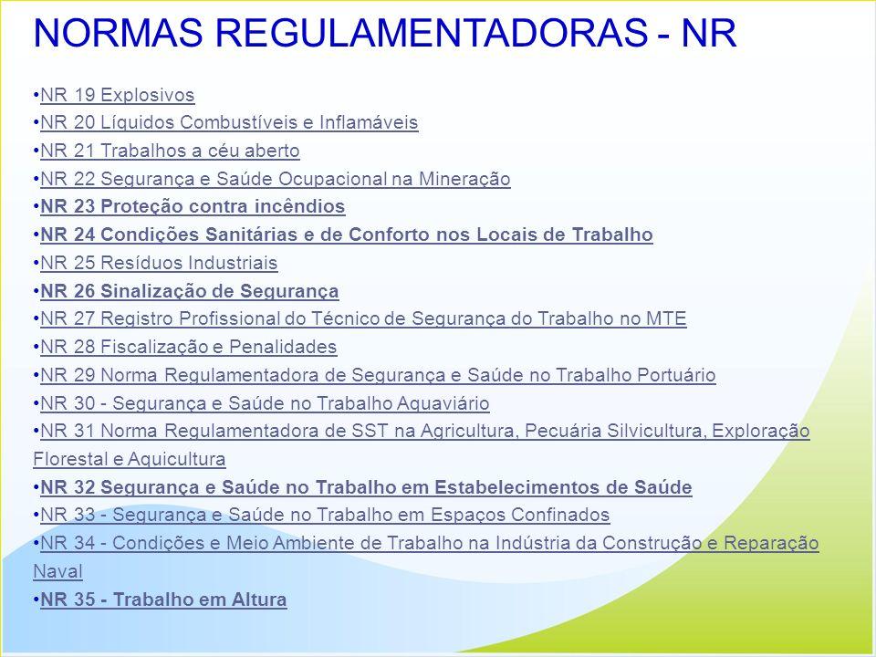 NORMAS REGULAMENTADORAS - NR NR 19 Explosivos NR 20 Líquidos Combustíveis e Inflamáveis NR 21 Trabalhos a céu aberto NR 22 Segurança e Saúde Ocupacion