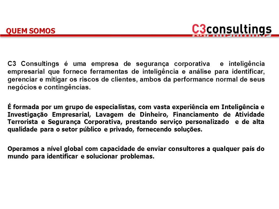C3 Consultings é uma empresa de segurança corporativa e inteligência empresarial que fornece ferramentas de inteligência e análise para identificar, g