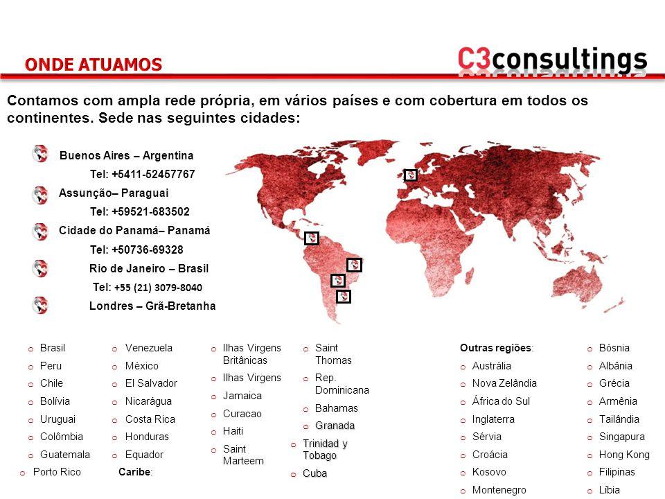 Contamos com ampla rede própria, em vários países e com cobertura em todos os continentes. Sede nas seguintes cidades: Buenos Aires – Argentina Tel: +