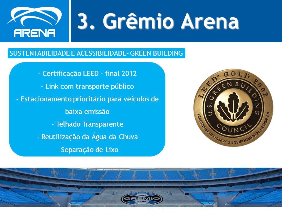 3. Grêmio Arena SUSTENTABILIDADE E ACESSIBILIDADE– GREEN BUILDING - Certificação LEED – final 2012 - Link com transporte público - Estacionamento prio