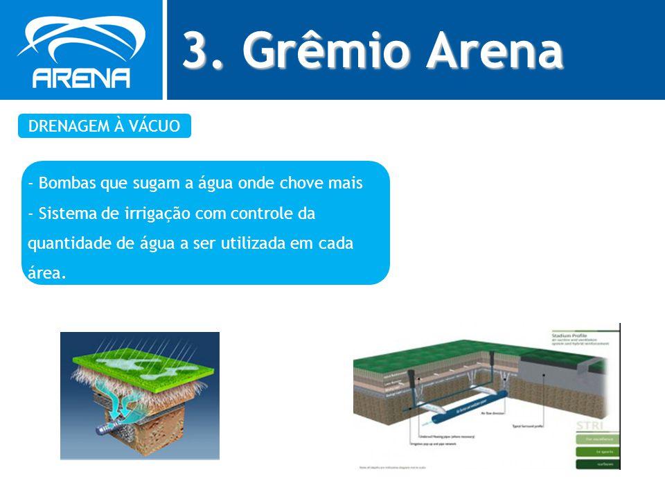 3. Grêmio Arena DRENAGEM À VÁCUO - Bombas que sugam a água onde chove mais - Sistema de irrigação com controle da quantidade de água a ser utilizada e