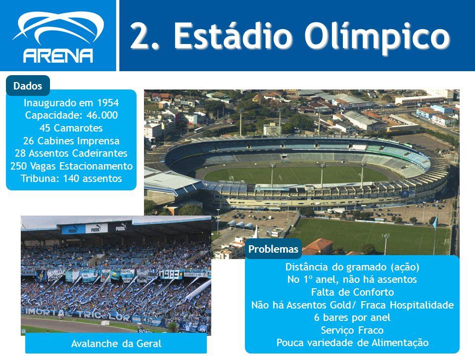 2. Estádio Olímpico Inaugurado em 1954 Capacidade: 46.000 45 Camarotes 26 Cabines Imprensa 28 Assentos Cadeirantes 250 Vagas Estacionamento Tribuna: 1