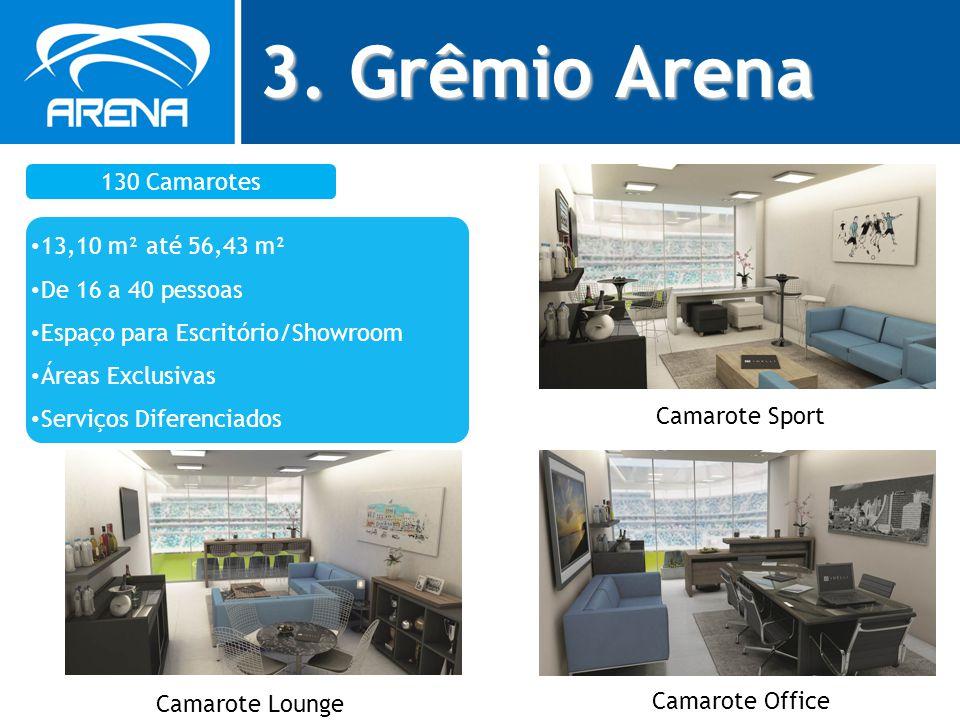 3. Grêmio Arena 130 Camarotes Camarote Sport Camarote Lounge Camarote Office 13,10 m² até 56,43 m² De 16 a 40 pessoas Espaço para Escritório/Showroom