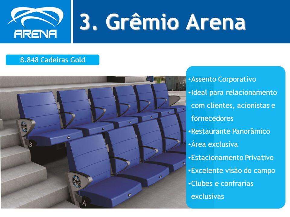3. Grêmio Arena 8.848 Cadeiras Gold Assento Corporativo Ideal para relacionamento com clientes, acionistas e fornecedores Restaurante Panorâmico Área
