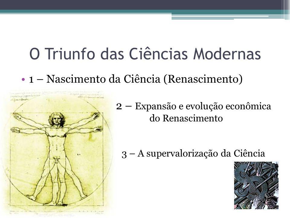 O Triunfo das Ciências Modernas 1 – Nascimento da Ciência (Renascimento) 2 – Expansão e evolução econômica do Renascimento 3 – A supervalorização da Ciência