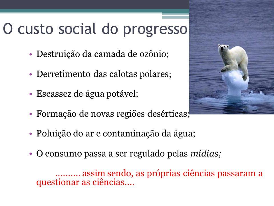 O custo social do progresso Destruição da camada de ozônio; Derretimento das calotas polares; Escassez de água potável; Formação de novas regiões desérticas; Poluição do ar e contaminação da água; O consumo passa a ser regulado pelas mídias;..........