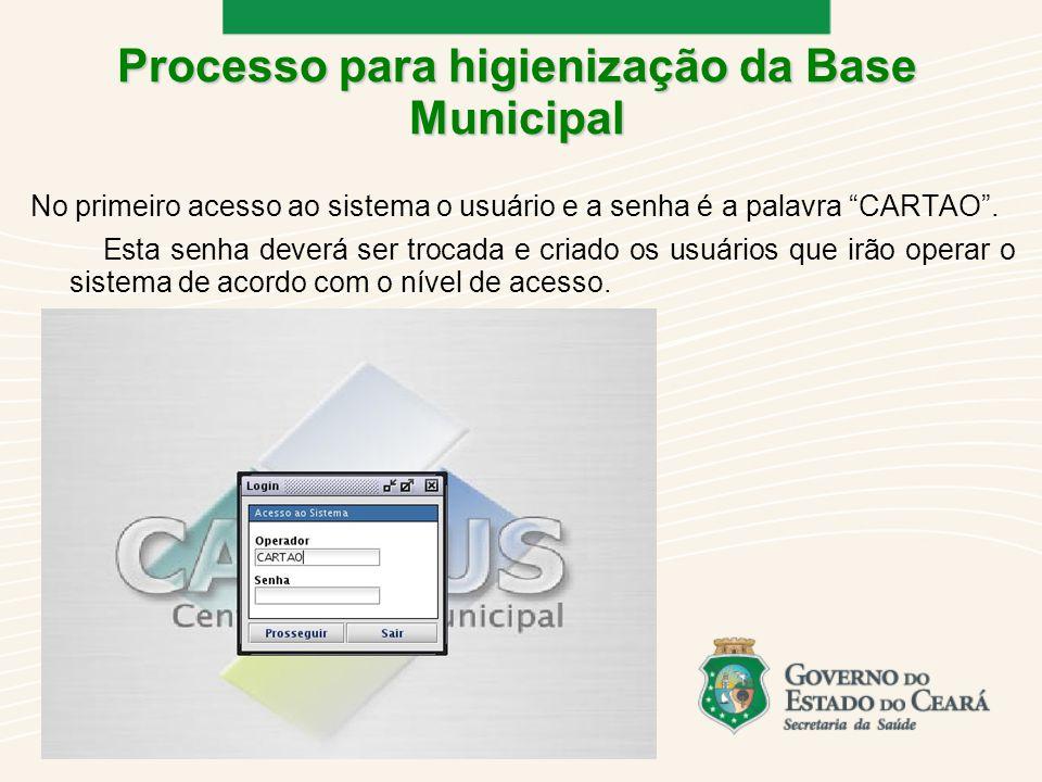 No primeiro acesso ao sistema o usuário e a senha é a palavra CARTAO.