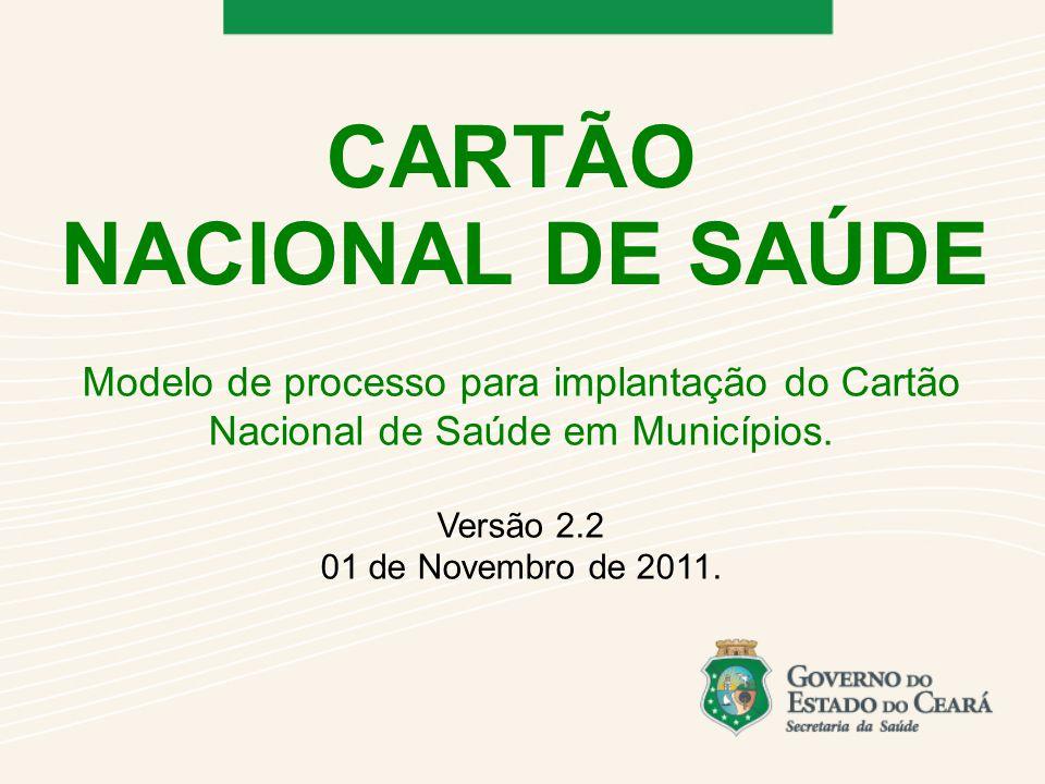 Modelo de processo para implantação do Cartão Nacional de Saúde em Municípios.
