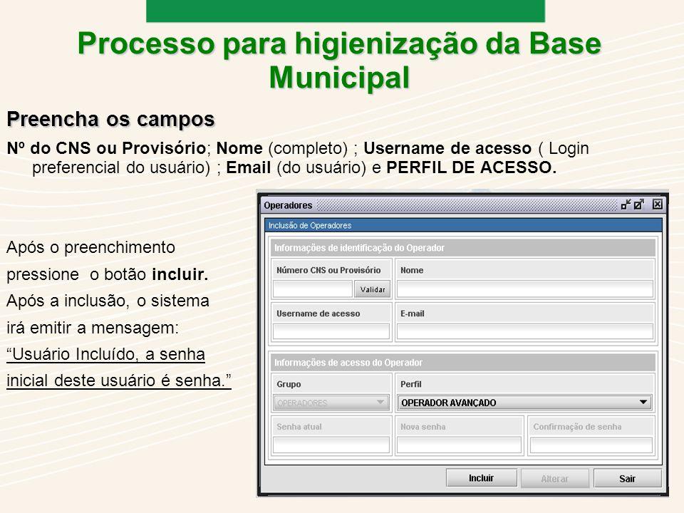 Preencha os campos Nº do CNS ou Provisório; Nome (completo) ; Username de acesso ( Login preferencial do usuário) ; Email (do usuário) e PERFIL DE ACESSO.