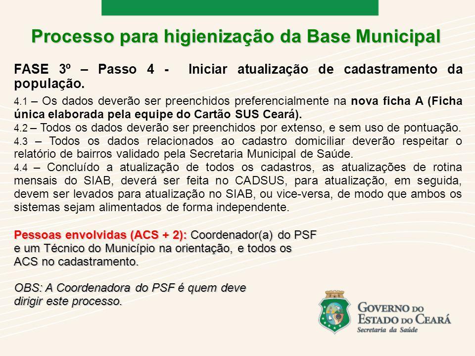 4.1 – Os dados deverão ser preenchidos preferencialmente na nova ficha A (Ficha única elaborada pela equipe do Cartão SUS Ceará).