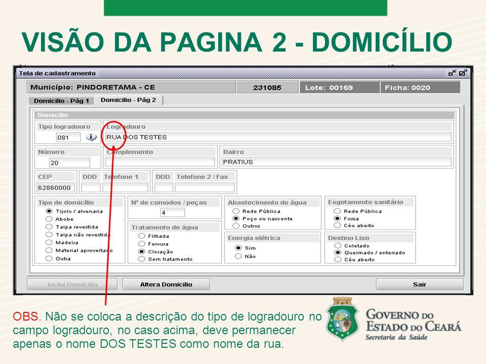 VISÃO DA PAGINA 2 - DOMICÍLIO OBS.