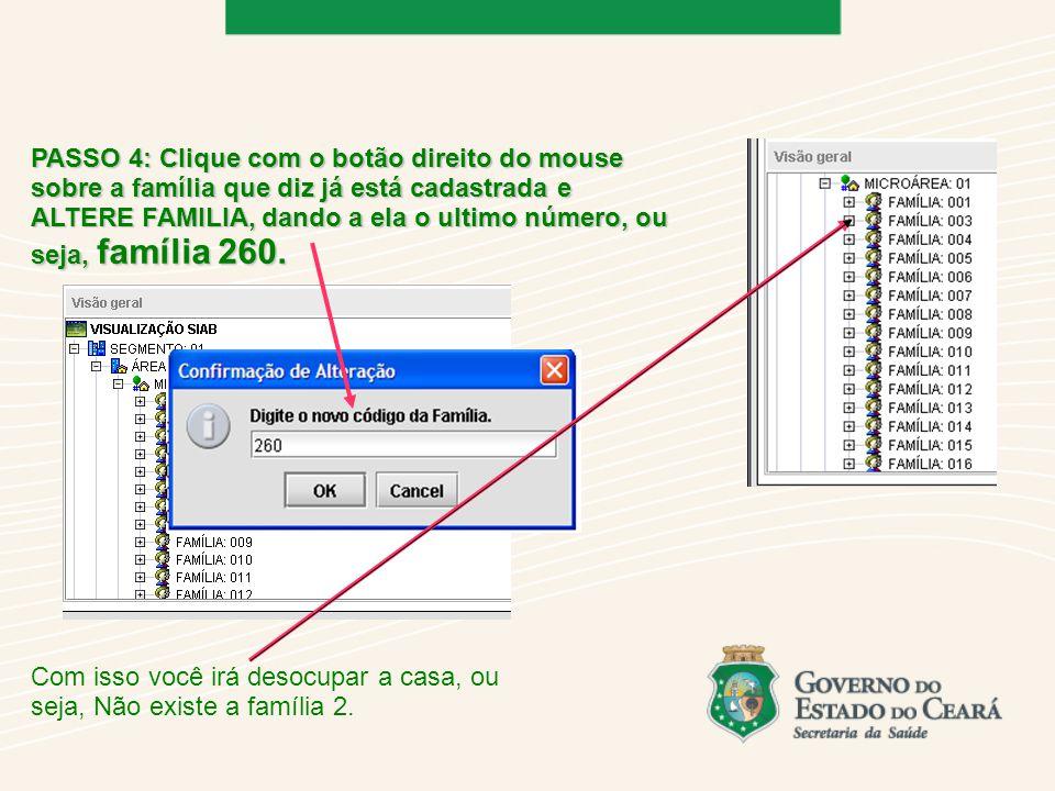 PASSO 4: Clique com o botão direito do mouse sobre a família que diz já está cadastrada e ALTERE FAMILIA, dando a ela o ultimo número, ou seja, família 260.