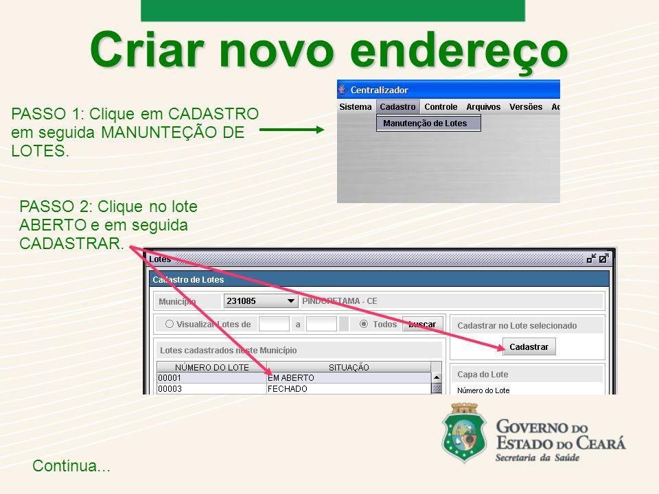 Criar novo endereço PASSO 1: Clique em CADASTRO em seguida MANUNTEÇÃO DE LOTES.