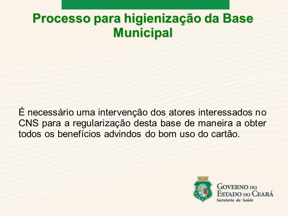 É necessário uma intervenção dos atores interessados no CNS para a regularização desta base de maneira a obter todos os benefícios advindos do bom uso do cartão.