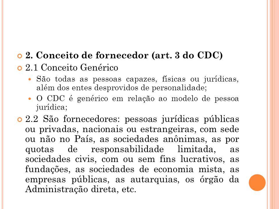 II.C ONCEITO DE CONSUMIDOR E FORNECDOR : 1. Conceito de consumidor (art.