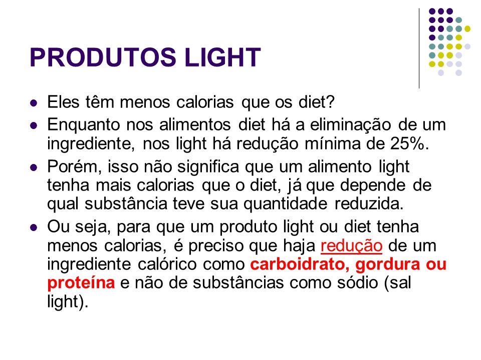 PRODUTOS LIGHT Eles têm menos calorias que os diet? Enquanto nos alimentos diet há a eliminação de um ingrediente, nos light há redução mínima de 25%.