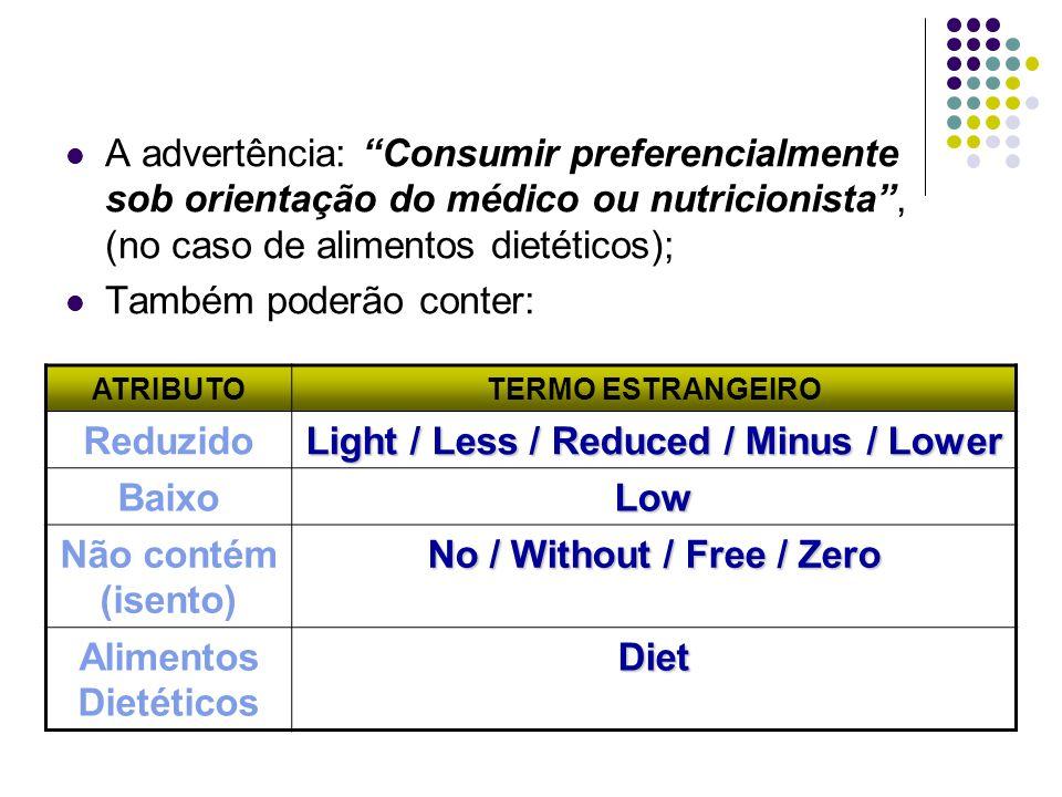 A advertência: Consumir preferencialmente sob orientação do médico ou nutricionista, (no caso de alimentos dietéticos); Também poderão conter: ATRIBUT