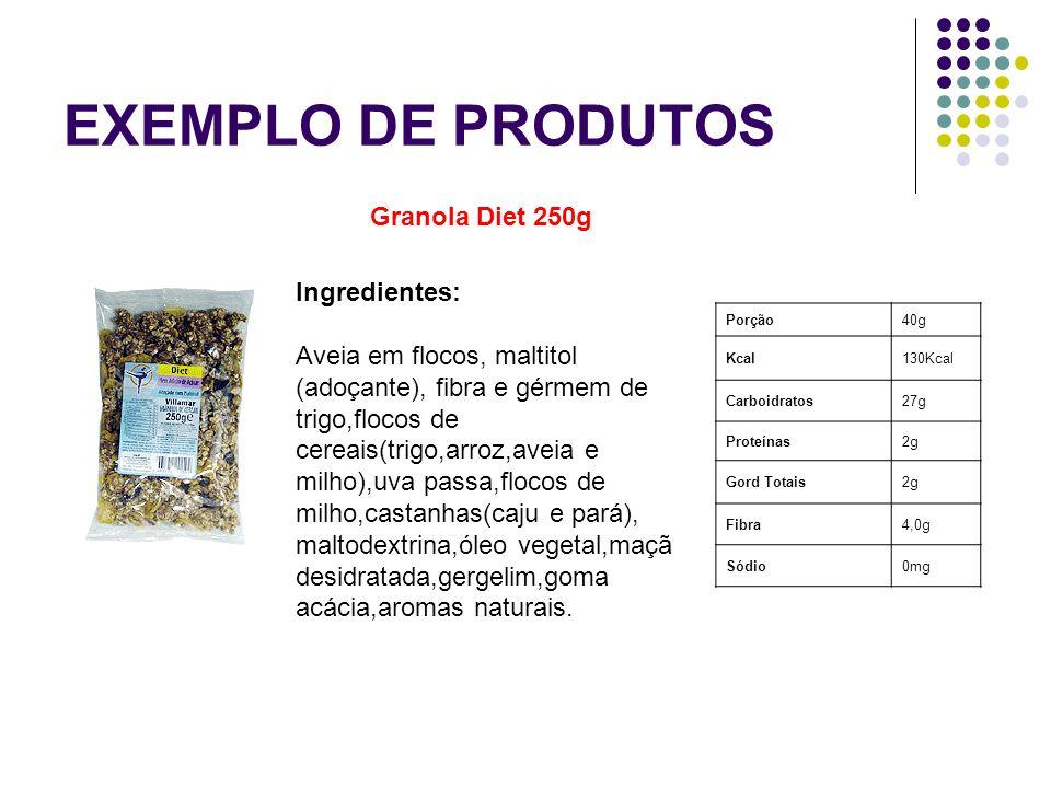 EXEMPLO DE PRODUTOS Granola Diet 250g Ingredientes: Aveia em flocos, maltitol (adoçante), fibra e gérmem de trigo,flocos de cereais(trigo,arroz,aveia
