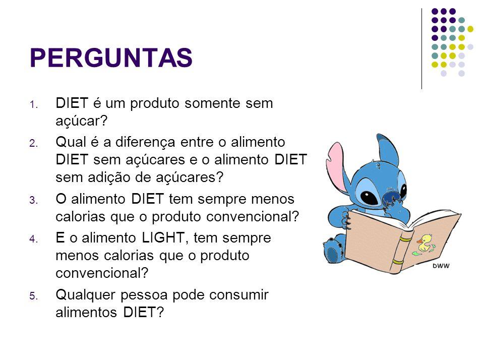 PERGUNTAS 1. DIET é um produto somente sem açúcar? 2. Qual é a diferença entre o alimento DIET sem açúcares e o alimento DIET sem adição de açúcares?