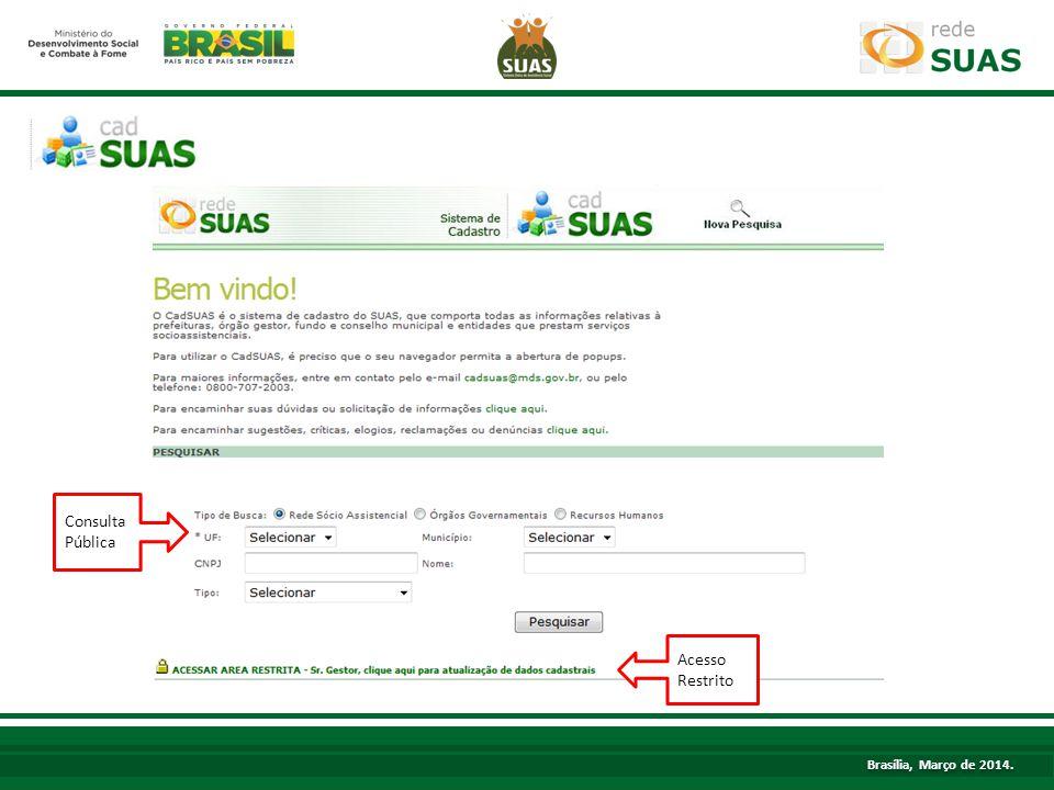 TÍTULO Acesso Restrito Consulta Pública Brasília, Março de 2014.