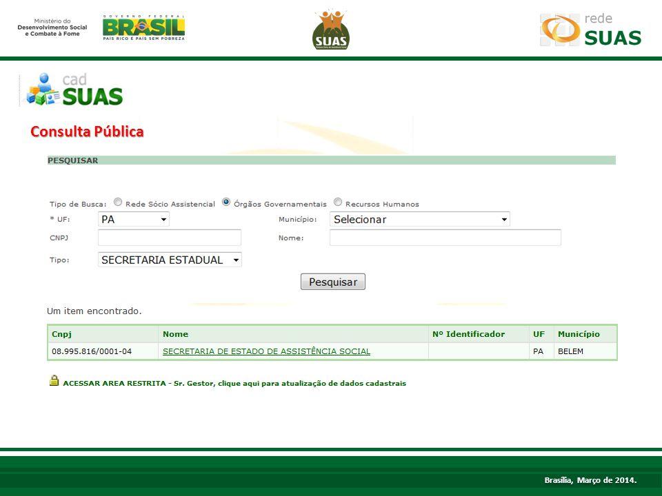 TÍTULO Brasília, Março de 2014. Consulta Pública