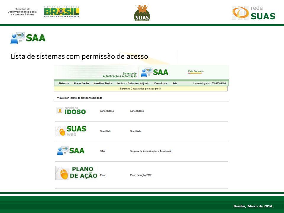 Lista de sistemas com permissão de acesso TÍTULO Brasília, Março de 2014.