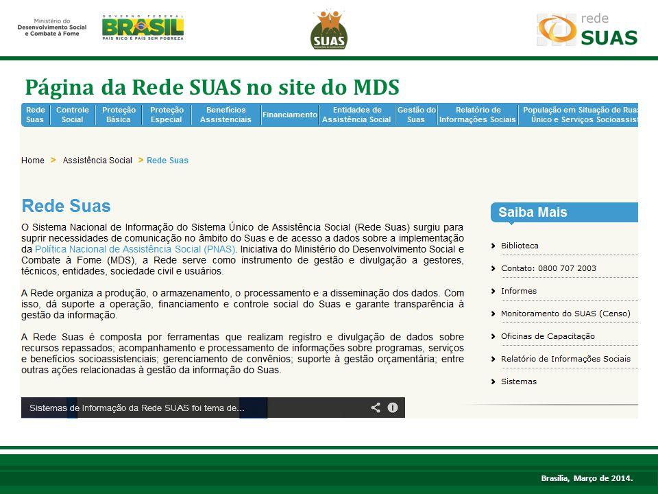 Texto. Página da Rede SUAS no site do MDS Brasília, Março de 2014.