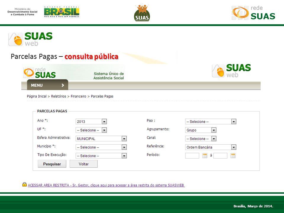 consulta pública Parcelas Pagas – consulta pública TÍTULO Brasília, Março de 2014.