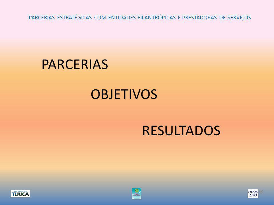 PARCERIAS ESTRATÉGICAS COM ENTIDADES FILANTRÓPICAS E PRESTADORAS DE SERVIÇOS ® PARCERIAS OBJETIVOS RESULTADOS