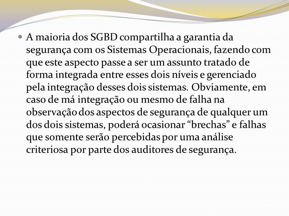 A maioria dos SGBD compartilha a garantia da segurança com os Sistemas Operacionais, fazendo com que este aspecto passe a ser um assunto tratado de forma integrada entre esses dois níveis e gerenciado pela integração desses dois sistemas.