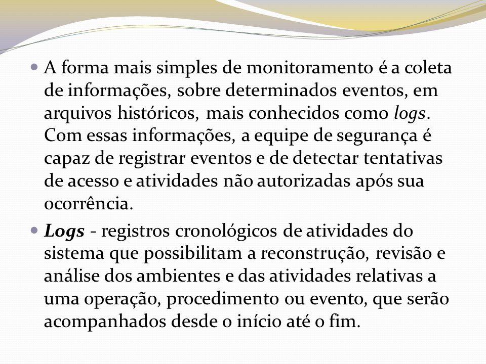 A forma mais simples de monitoramento é a coleta de informações, sobre determinados eventos, em arquivos históricos, mais conhecidos como logs.