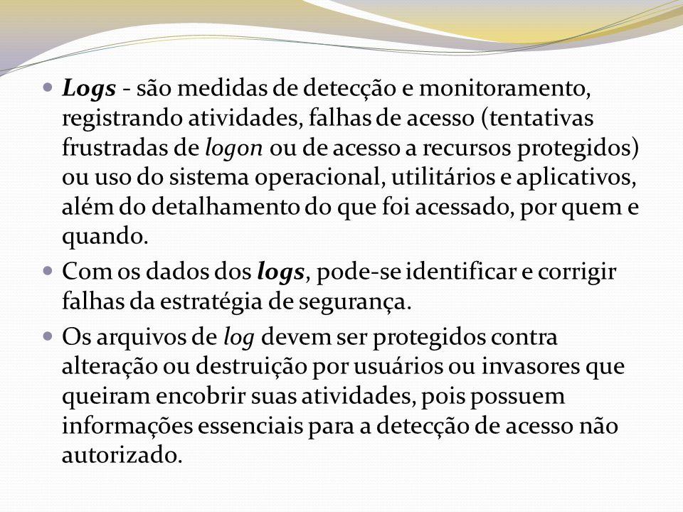 Logs - são medidas de detecção e monitoramento, registrando atividades, falhas de acesso (tentativas frustradas de logon ou de acesso a recursos prote