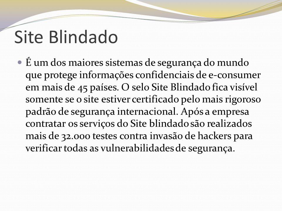 Site Blindado É um dos maiores sistemas de segurança do mundo que protege informações confidenciais de e-consumer em mais de 45 países. O selo Site Bl