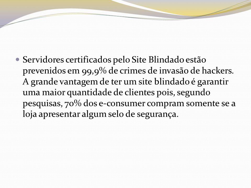Servidores certificados pelo Site Blindado estão prevenidos em 99,9% de crimes de invasão de hackers.