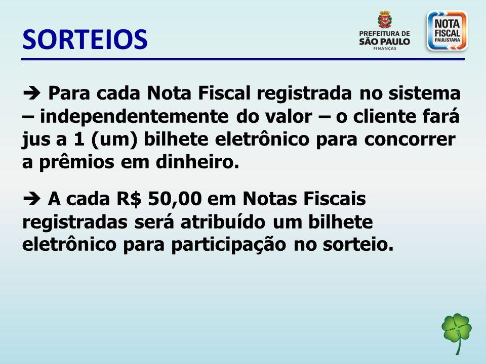 SORTEIOS Para cada Nota Fiscal registrada no sistema – independentemente do valor – o cliente fará jus a 1 (um) bilhete eletrônico para concorrer a prêmios em dinheiro.
