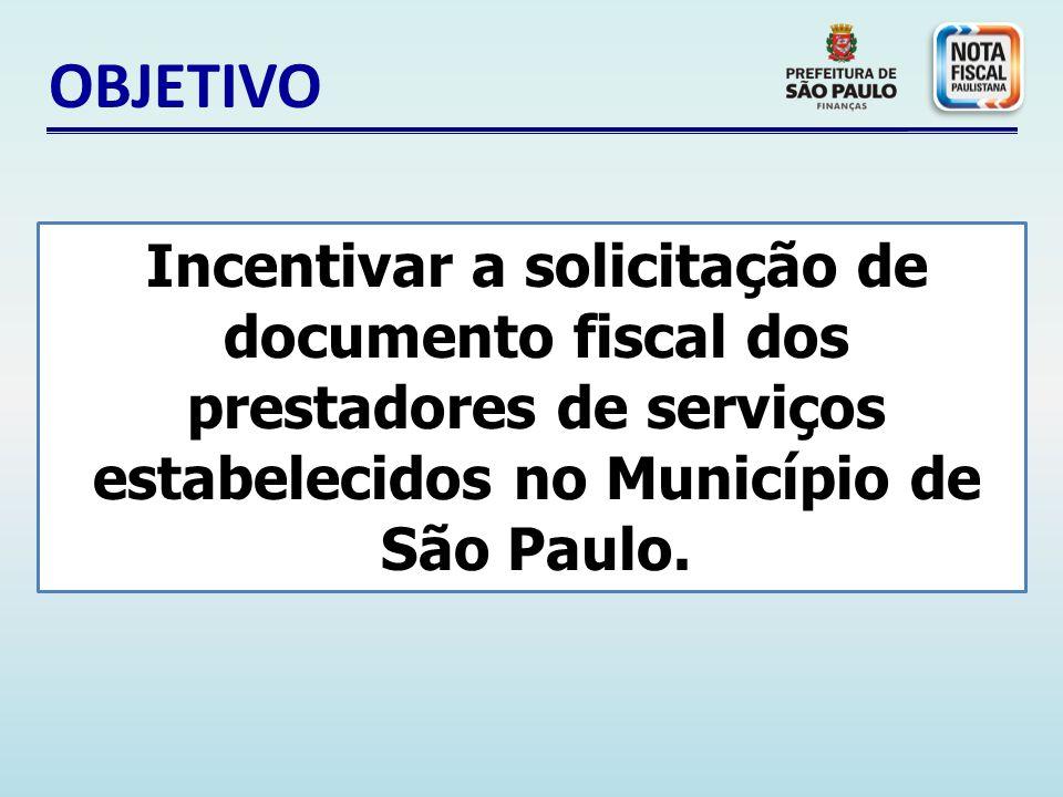 OBJETIVO Incentivar a solicitação de documento fiscal dos prestadores de serviços estabelecidos no Município de São Paulo.
