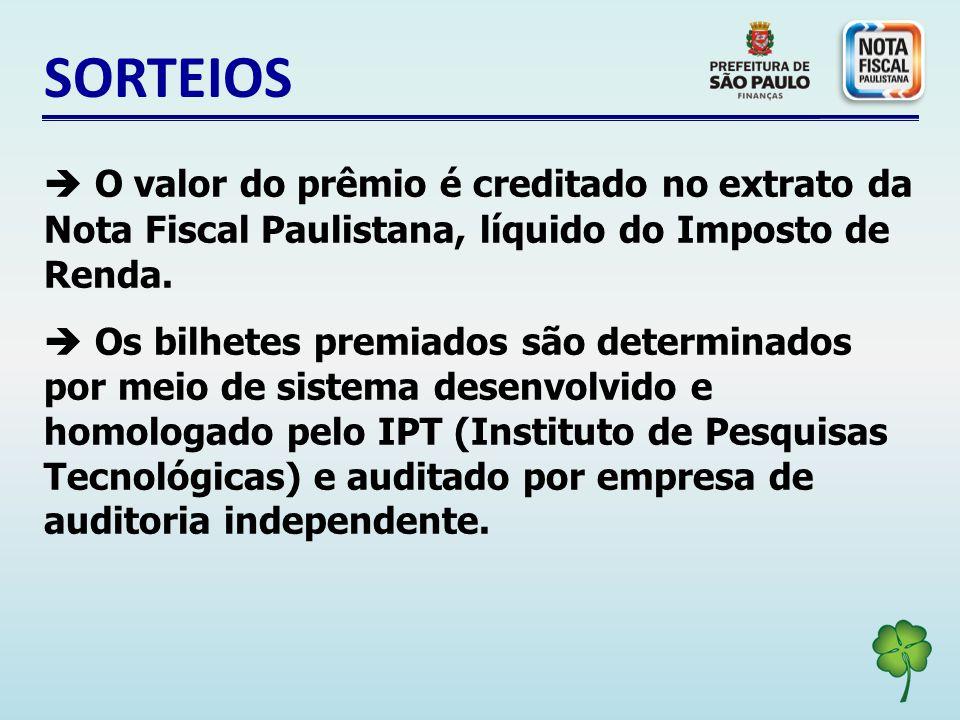 SORTEIOS O valor do prêmio é creditado no extrato da Nota Fiscal Paulistana, líquido do Imposto de Renda.