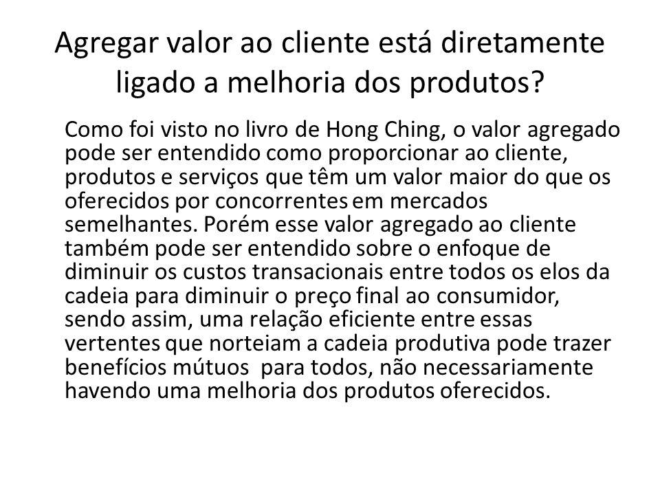 Agregar valor ao cliente está diretamente ligado a melhoria dos produtos.