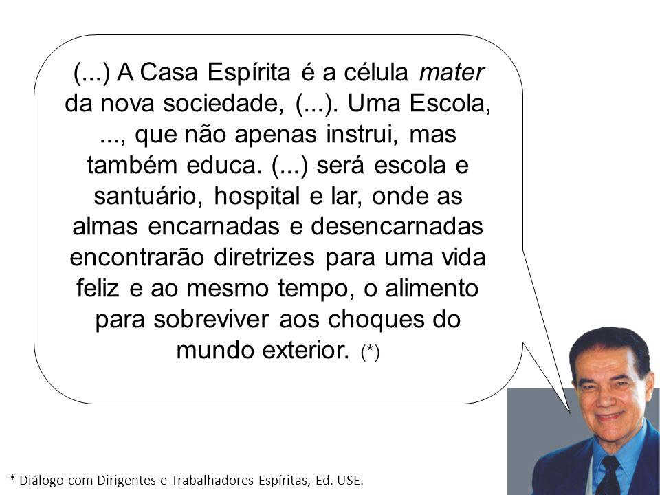 (...) A Casa Espírita é a célula mater da nova sociedade, (...). Uma Escola,..., que não apenas instrui, mas também educa. (...) será escola e santuár