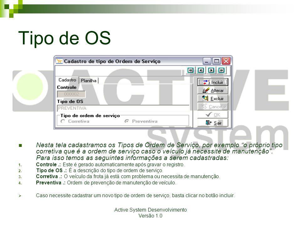 Active System Desenvolvimento Versão 1.0 Tipo de OS Nesta tela cadastramos os Tipos de Ordem de Serviço, por exemplo o próprio tipo corretiva que é a ordem de serviço caso o veículo já necessite de manutenção.