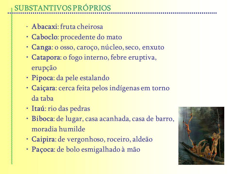 SUBSTANTIVOS PRÓPRIOS Abacaxi: fruta cheirosa Caboclo: procedente do mato Canga: o osso, caroço, núcleo, seco, enxuto Catapora: o fogo interno, febre