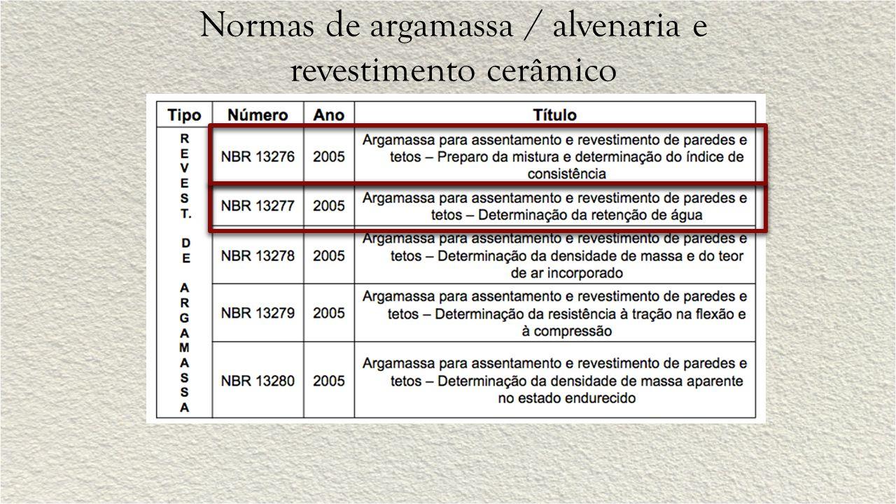 Normas de argamassa / alvenaria e revestimento cerâmico