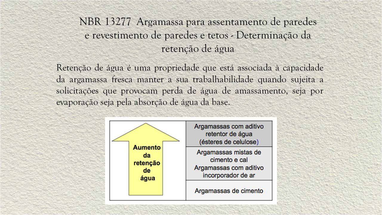 NBR 13277 Argamassa para assentamento de paredes e revestimento de paredes e tetos - Determinação da retenção de água Retenção de água é uma proprieda