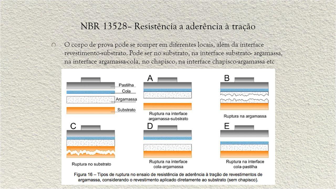 NBR 13528– Resistência a aderência à tração O corpo de prova pode se romper em diferentes locais, além da interface revestimento-substrato. Pode ser n