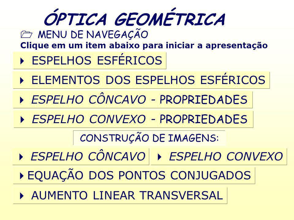 ÓPTICA GEOMÉTRICA MENU DE NAVEGAÇÃO Clique em um item abaixo para iniciar a apresentação ESPELHOS ESFÉRICOS ELEMENTOS DOS ESPELHOS ESFÉRICOS ESPELHO CONVEXO - PROPRIEDADES CONSTRUÇÃO DE IMAGENS: ESPELHO CÔNCAVO - PROPRIEDADES ESPELHO CÔNCAVO ESPELHO CONVEXO EQUAÇÃO DOS PONTOS CONJUGADOS AUMENTO LINEAR TRANSVERSAL