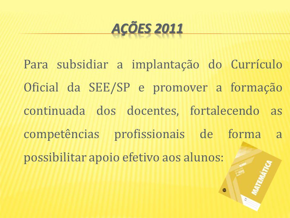 Para subsidiar a implantação do Currículo Oficial da SEE/SP e promover a formação continuada dos docentes, fortalecendo as competências profissionais