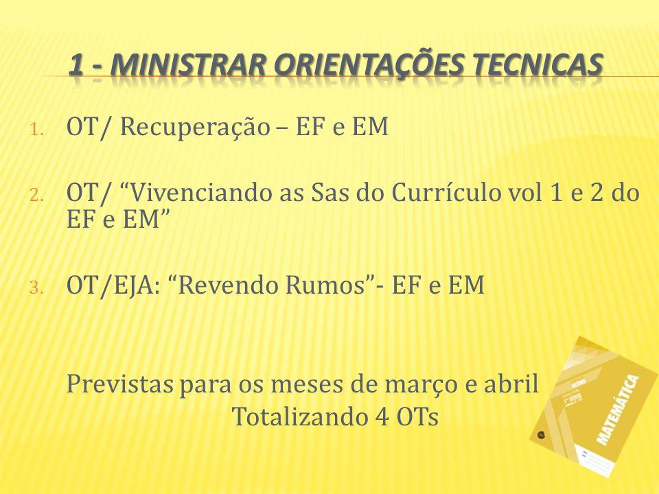 1. OT/ Recuperação – EF e EM 2. OT/ Vivenciando as Sas do Currículo vol 1 e 2 do EF e EM 3. OT/EJA: Revendo Rumos- EF e EM Previstas para os meses de